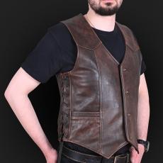 Leather vest m01 brown