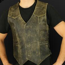 Leather vest m01 sa olive