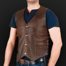 Leather vest m01 brown