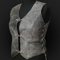 Leather Vest M05 grey