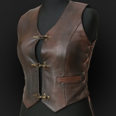 Leather Vest MO5k  Brown