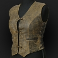 Leather Vest MO5 Olive