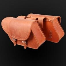 Leather motorcycle saddlebags